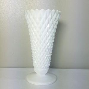 Vintage milk glass vase, Indiana Glass